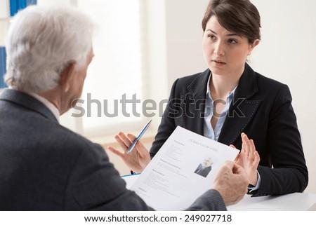 Elderly elegant man on his recruitment meeting - stock photo