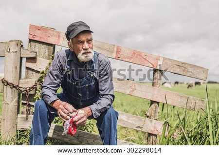Elderly farm worker sitting relaxing in the sunshine on a wooden fence surrounding a pasture with livestock - stock photo
