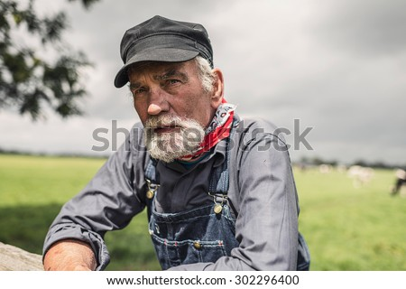 Elderly grey-haired bearded farmer leaning on a paddock fence watching his animals with livestock in the distance - stock photo
