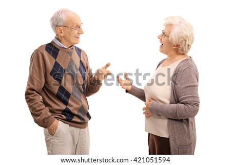 Elderly man and woman talking to each other isolated on white background - stock photo