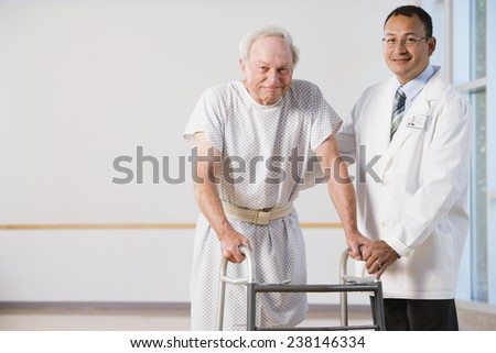 Elderly Man Clutching a Walker