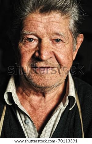 Elderly man, fine portrait - stock photo