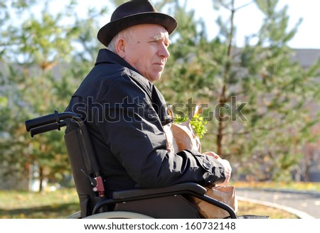 Elderly man in a wheelchair enjoying the sun sitting outdoors in a hat and overcoat with a bag of groceries on his lap