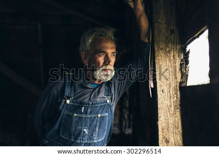 Elderly man in denim dungarees standing staring through a window in an old rustic wooden house or barn with a thoughtful expression - stock photo