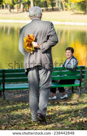 Elderly man preparing the surprise for his wife - stock photo