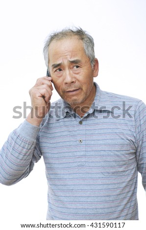 Elderly man who talks with a cell-phone ; Trouble visited him