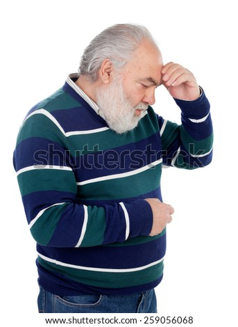 Elderly man with a gesture of having forgotten something isolated on white - stock photo