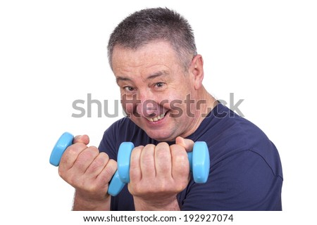 Elderly man with dumbbells during sport