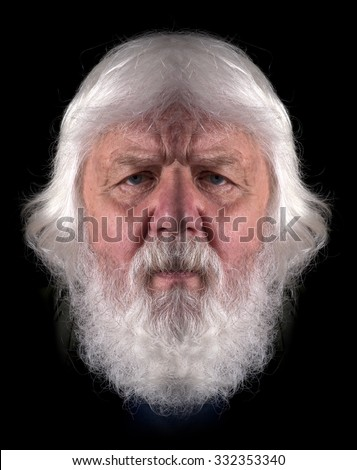Elderly man with full beard, portrait - stock photo