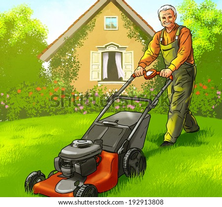 elderly man with Gasoline mowers cut the grass near the house - stock photo
