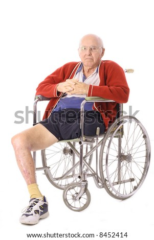 elderly man with leg amputation vertical - stock photo