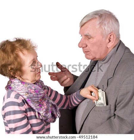 Elderly pair. Wife takes from husband of money. It is isolated on white - stock photo