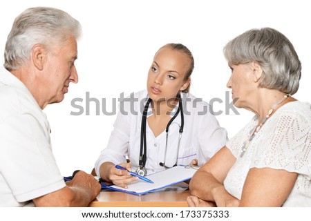 Elderly patients couple came to visit a young doctor