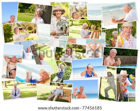 Elderly people relaxing alone outdoors
