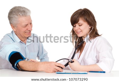 Elderly senior came to the reception to the young doctor