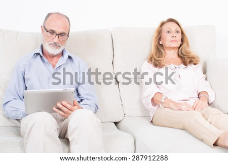 Elderly woman at psychologist - stock photo