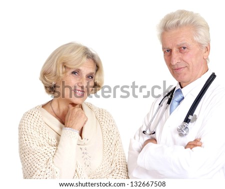elderly woman came to the doctor over a white background - stock photo