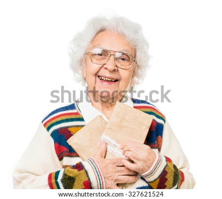 elderly woman holding old envelops isolated on white background
