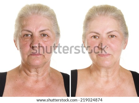 Elderly woman's portrait isolated on white. Before and after retouch. - stock photo