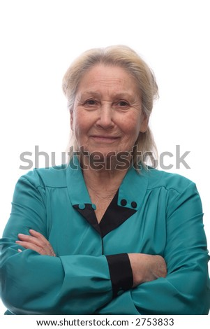 Elderly woman with arms crossed on her breast, isolated on white background
