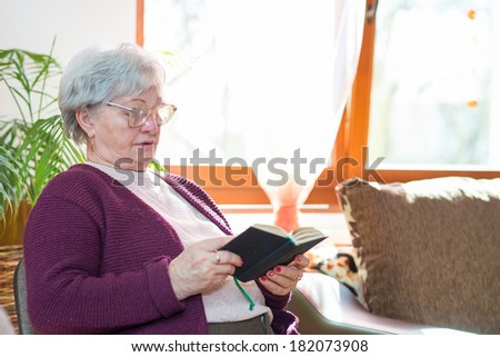 elderly woman with hands holding Bible - stock photo