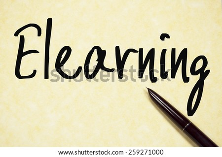 Elearning sign write on paper  - stock photo