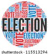 Election and vote  concept in word tag cloud on white background - stock photo