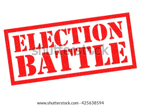 ELECTION BATTLE red rubber Stamp over a white background. - stock photo