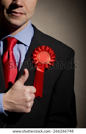 Election Candidate With Thumbs Up Gesture - stock photo