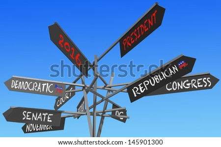 election 2016 choice conceptual post over blue sky - stock photo
