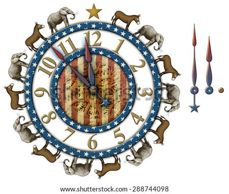 Election countdown clock with elephants and donkeys representing the Democratic and Republican parties. Hands are isolated separately to be placed and rotated around the clock. Clipping Path included. - stock photo