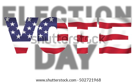 election day vote text, united states of america isolated on white