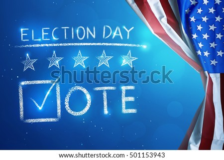 Election Day with V shape checklist sign for voting written on beside the USA flag