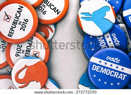 Election: Democrat Vs. Republican Voting Buttons - stock photo