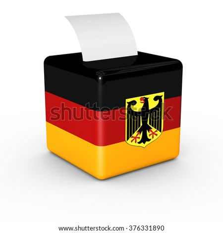 Election in Germany: ballot box with voicing paper on a white background. - stock photo
