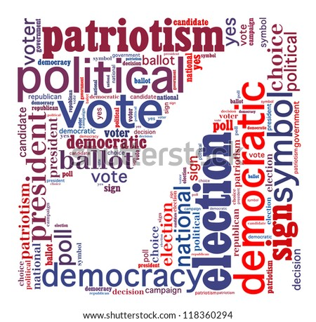 Election info-text graphics and arrangement concept (word cloud) on white background - stock photo