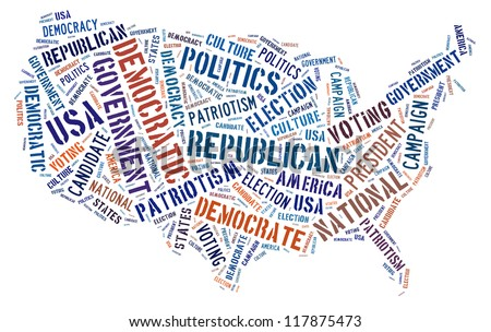 Election info-text graphics arrangement concept composed in United State map shape on white background