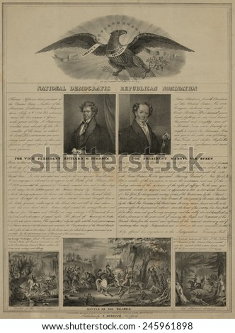 Election of 1840. Political broadside of the losing National Democratic Republican presidential ticket of Martin Van Buren and Richard Johnson. War of 1812 Battle of the Thames. - stock photo