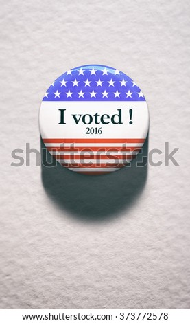Election: Single Voting Button On White Paper - stock photo
