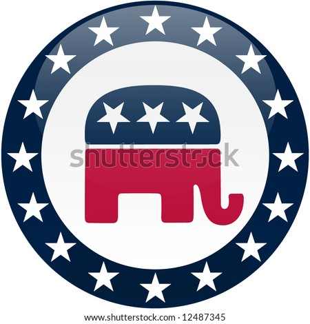 Election themed round button with 3d effect, Republican party logo - clipping path included - stock photo