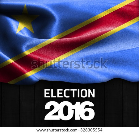 Election 2016 Typography on wood texture background with Democratic Republic of the Congo smooth silk texture - stock photo