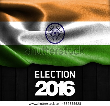 Election 2016 Typography on wood texture background with India smooth silk texture - stock photo