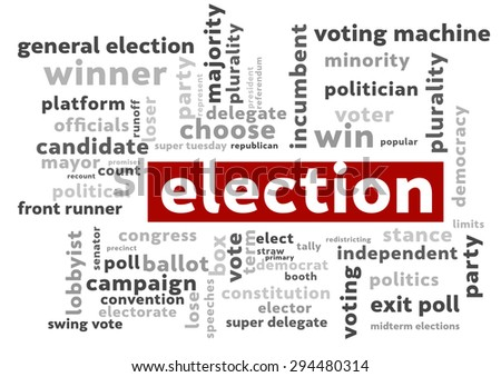 Election word cloud - stock photo