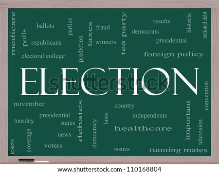 Election Word Cloud Concept on a Blackboard with great terms such as presidential, convention, republicans, democrats, winners, issues and more - stock photo