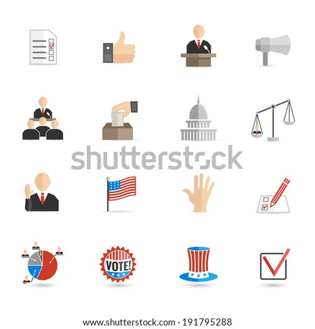 Elections and voting icons set with ballot mark sign hand flag isolated  illustration - stock photo