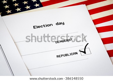 Elections ballot with USA flag background. Selection of a candidate from the Republicans - stock photo