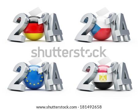 elections in 2014 Germany, Czech Republic, European, Egypt - stock photo