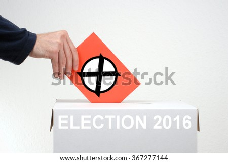 Elections in 2016 - Red Envelope and Box - stock photo