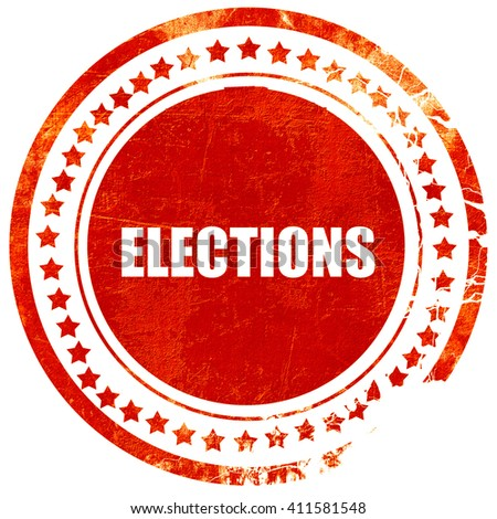 elections, red grunge stamp on solid background - stock photo