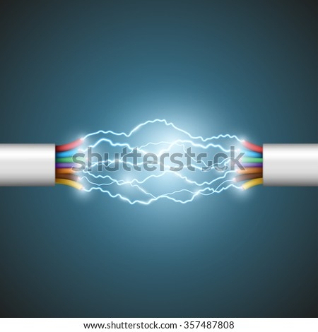 Electric arc between the wires. Electrical circuit. Stock illustration. - stock photo